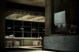 Faber Talika Dark Grey Concrete Wall Hood Lifestyle Room Shot