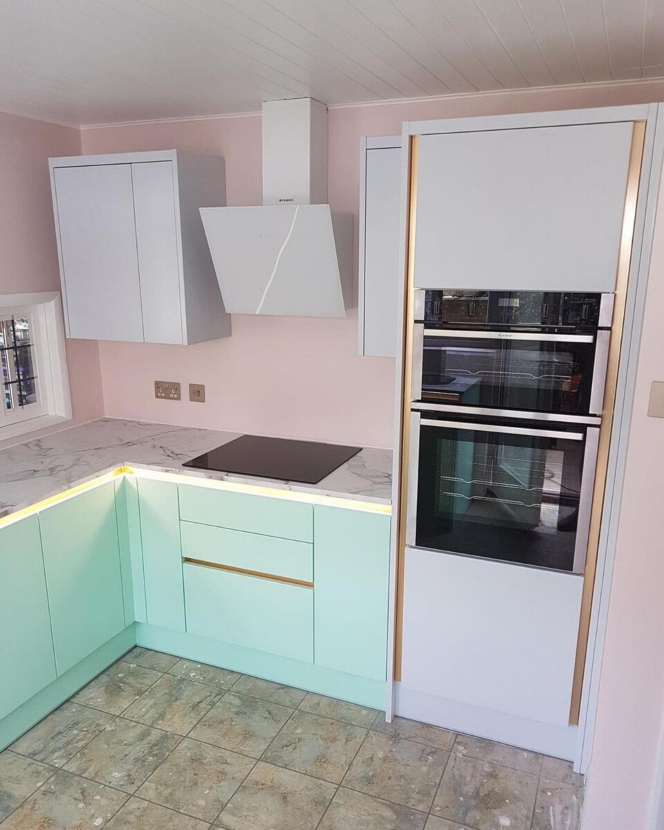 Mint and Pink kitchen